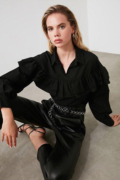 Siyah Volanlı Bluz TWOAW21BZ0058