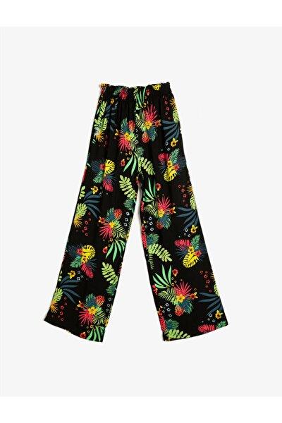 Kız Çocuk Siyah Çiçek Desenli Geniş Kesim Pantolon