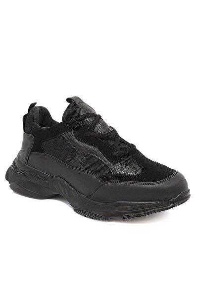 Erkek Siyah Yüksek Tabanlı Sneaker Ayakkabı