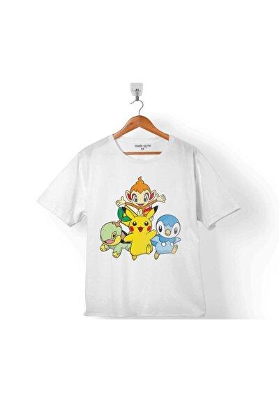 Çocuk Tişört Pokemon Pıkachu Chımchar Pıplup Turtwıg