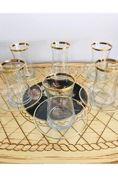 Heybeli Gold Yaldızlı 12 Parça Çay Seti 6 Kişilik