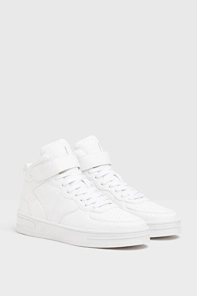 Kadın Beyaz Bant Detaylı Yüksek Bilekli Spor Ayakkabı