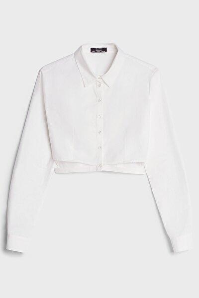 Kadın Beyaz Yırtmaçlı Poplin Gömlek