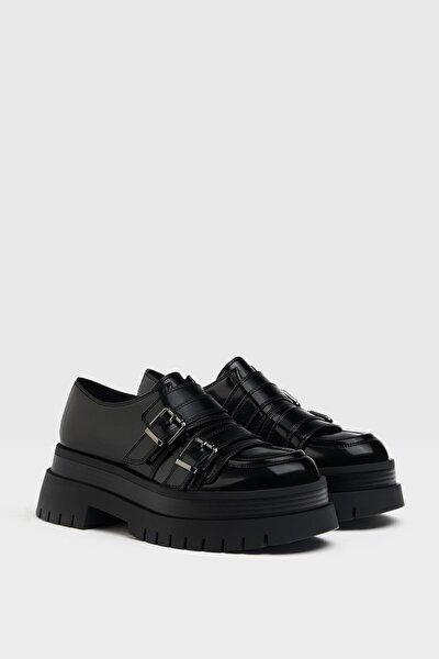 Kadın Siyah Tokalı Düz Maksi Platform Ayakkabı