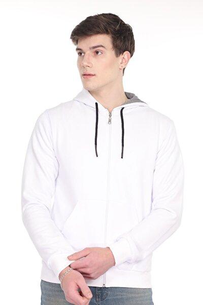 Erkek Beyaz Kapüşonlu  Fermuarlı Sweatshirt