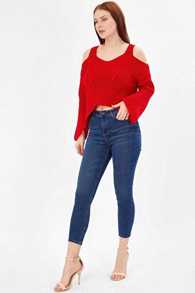 Koyu Mavi Kadın Yıkamalı Basic Pantolon