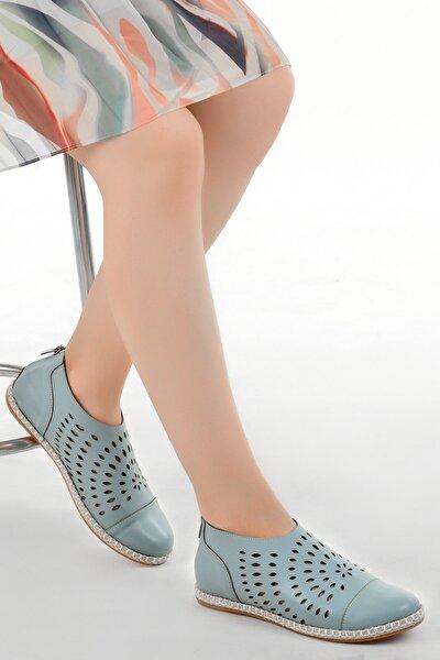 Kadın Mavi Günlük Ortopedik Babet Ayakkabı