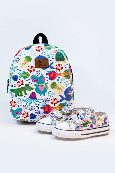 Kız Çocuk Desenli  Neşeli Sular Ayakkabı Ve Çanta Takımı