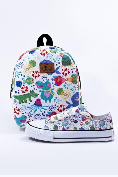 Unisex Çocuk Beyaz Neşeli Sular Ayakkabı Ve Çanta Takımı (bağcıklı Model)