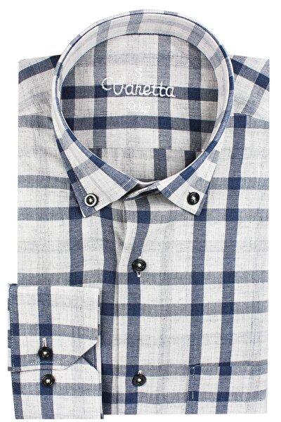 Erkek Lacivert %100 Pamuk Uzun Kol Yaka Düğmeli Tek Cepli Kareli Klasik Kesim Gömlek