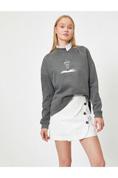 Kadın Gri Uzun Kollu Baskili Sweatshirt
