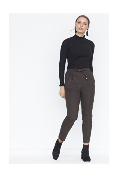 Kadın Haki Pileli Bağcıklı Pantolon