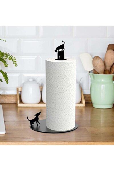 Kedi Ve Köpek Figürlü Metal Kağıt Havluluk