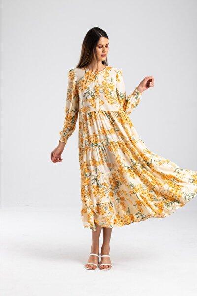 Kadın Krem  Çiçekli Uzun Elbise