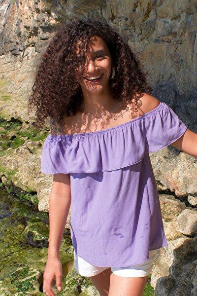 Kadın Mor Yakası Fırfırlı Bluz