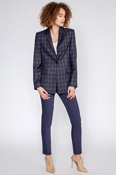 Kadın Lacivert Kare Desenli Tek Düğme Kapamalı Ceket