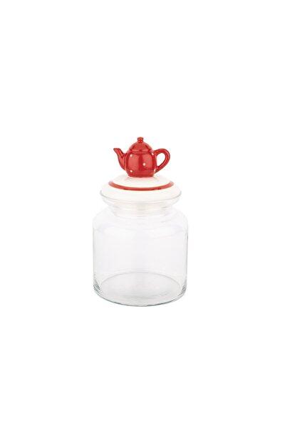 Kırmızı Çaydanlık Seramik Kapaklı Kavanoz 1085ml