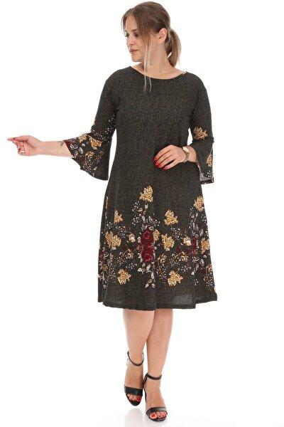 Kadın Çiçek Desenli Volan Kol Elbise