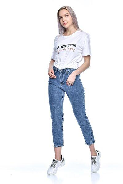 Kadın Mavi Slim Lazer Kesimli Likralı Kot Pantolon