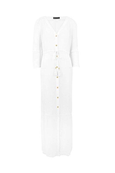 Kadın Beyaz Düğmeli Maxi Plaj Elbisesi T52006982