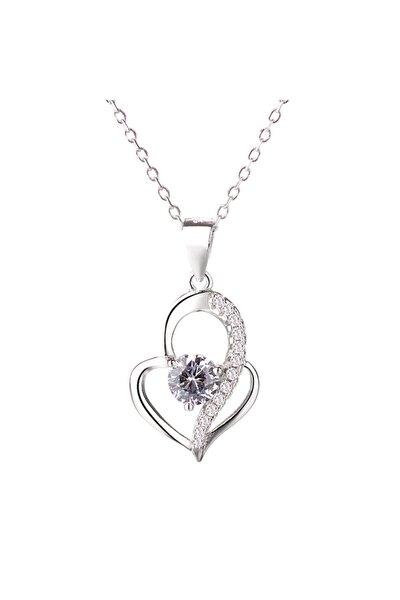 Gümüş Tektaş Kalp Kadın Gümüş Kolye
