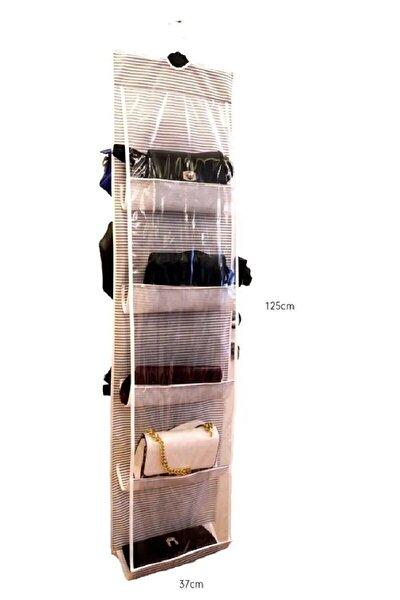10 Gözlü Çanta Askılığı Organizer Çizgili Model Çanta Düzenleyici