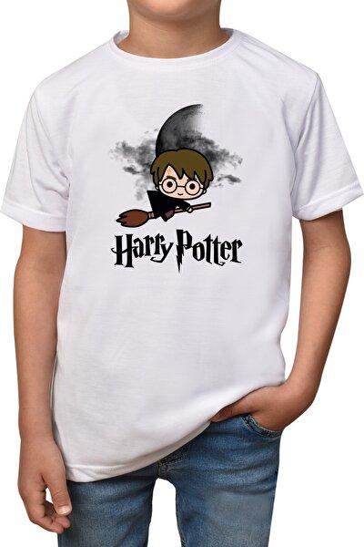 Çocuk Beyaz Harry Potter Baskılı T-Shirt