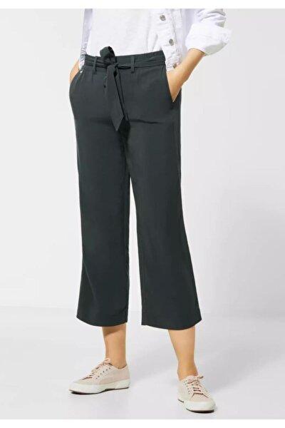 Kadın Siyah Street One Beli Kemerli Geniş Paça Kumaş Pantolon