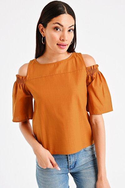 Kadın Omzu Açık Lastikli Keten Bluz S-20Y1030005