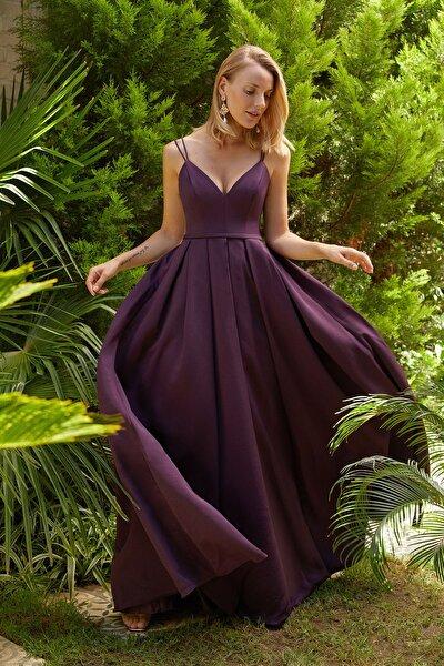 Kadın Mürdüm İnce Askılı Pile Etekli Uzun Elbise 4XLOC290020V1