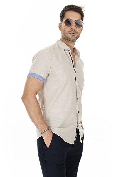 Erkek Taş Rengi Düğmeli Yaka Kısa Kollu Pamuklu Gömlek Cf20S112546