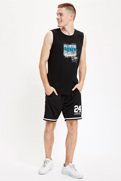 Erkek Siyah Regular Fit Sporcu Şort R9112AZ20SMBK