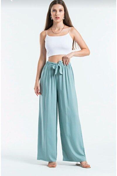 Kadın Lila Bol Kesimli Belden Bağlamalı Pantolon