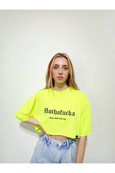 Kadın Neon Sarı Oversize Baskılı Günlük Bisiklet Yaka Kısa Kol Örme Tshirt