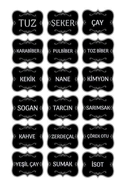 Mutfak Kavanoz Baharatlık Sticker - Baharat Etiket - Hediyeli Gönderim-( 18 Çeşit ) -model002