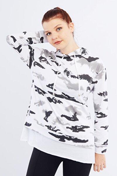 Kadın Siyah Batik Kapüşonlu Sweatshirt Cty-wpr-3110