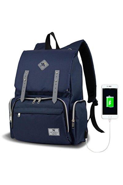 Unisex Lacivert Smart Bag Mother Star USB'li Anne Bebek Bakım Çantası