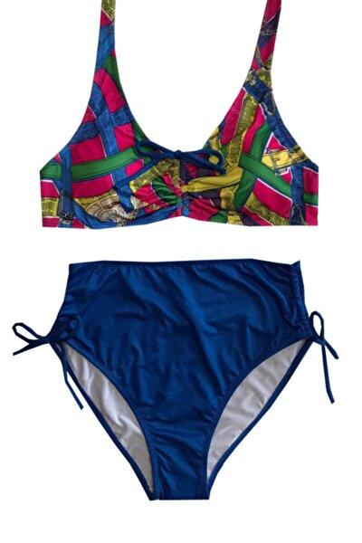 Kadın Mavi Yüksek Bel Bikini Takımı