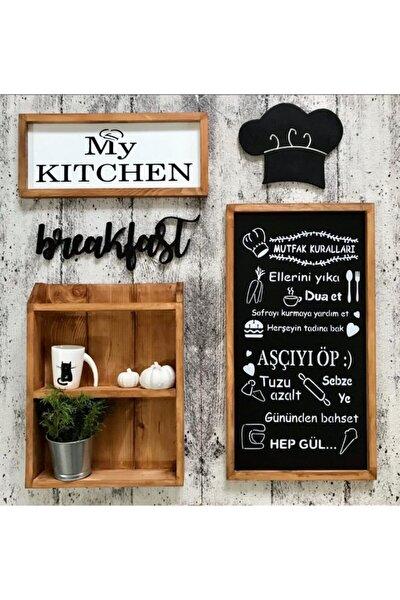 Siyah Beyaz Ahşap Terekli Mutfak Seti