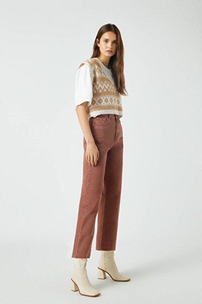 Kadın Kahverengi Crop Straight Fit Pantolon 09672324