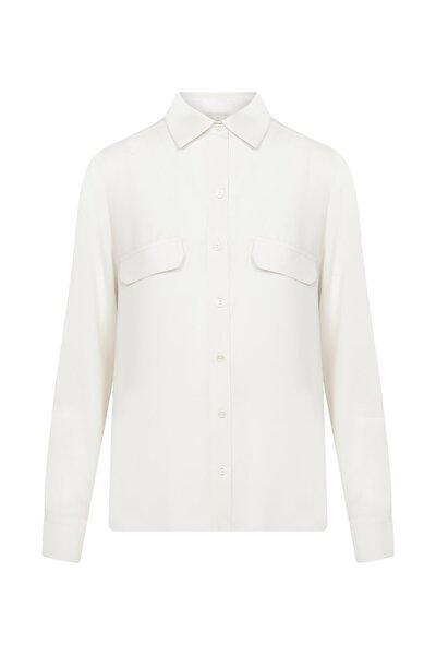 Kadın Ekru Cep Detaylı Gömlek