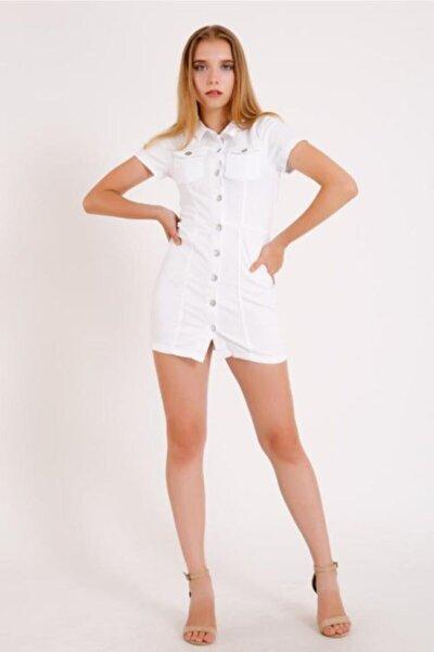 Kadın Beyaz Kısa Kol Kot Elbise