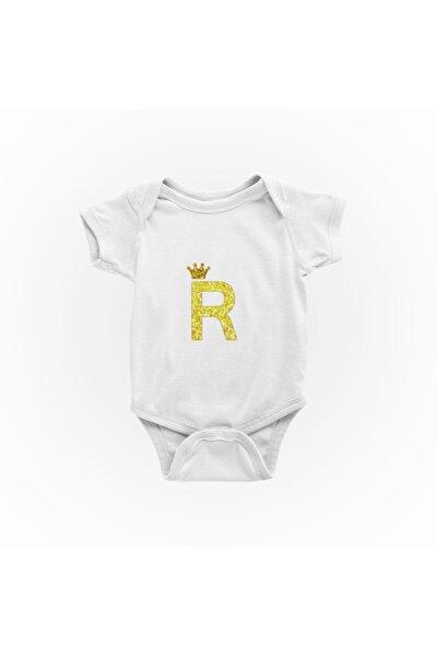 Unisex R Harfi Baskılı Bebek Zıbını