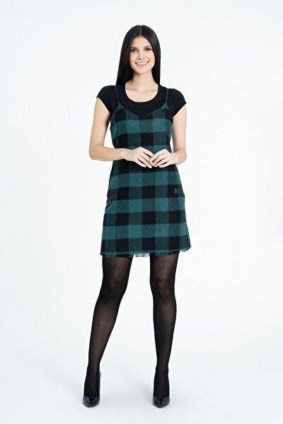 Kadın Yeşil Askılı Ekoseli Elbise K-5955