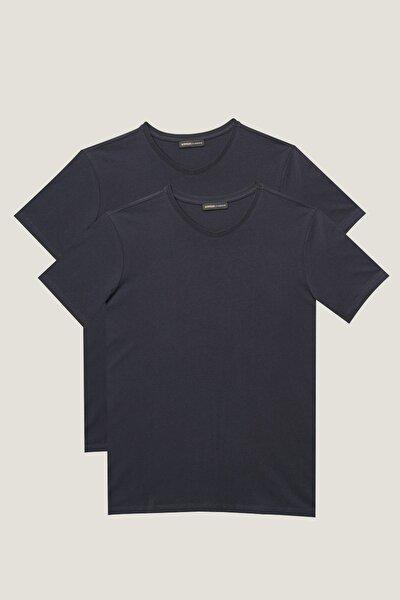 Erkek Lacivert Slim Fit Dar Kesim V Yaka 2'li Tişört Paketi