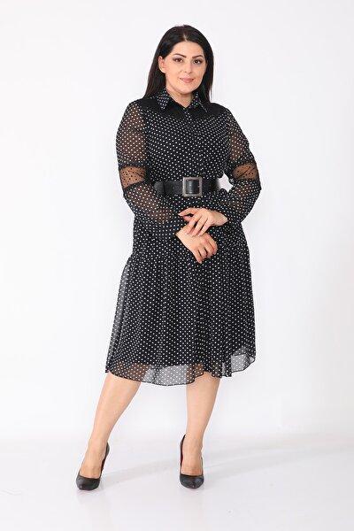 Kadın Siyah Puantiyeli Ve Kuşak Detaylı Şifon Elbise