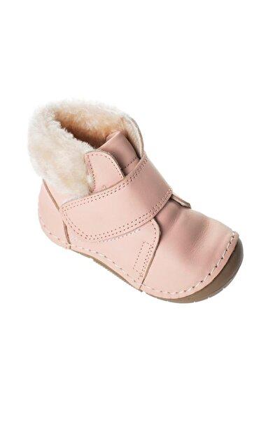 Kız Bebek Pembe Ortopedik Kışlık Hakiki Deri Kürklü İlk Adım Ayakkabısı