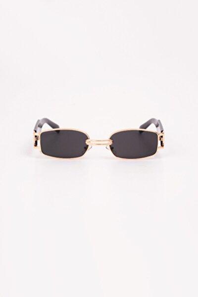 Retro Minimal Güneş Gözlüğü - Gold Siyah