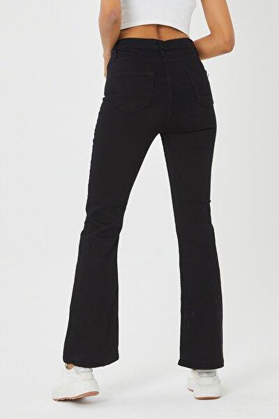 Kadın Siyah İspanyol Paça Kot Pantolon