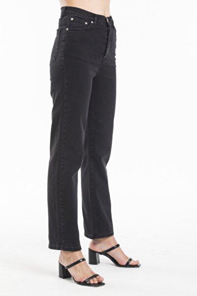 Kadın Siyah Yüksek Bel Straight Jeans